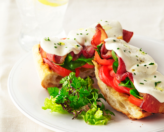Bacon and Balsamic Caprese Grillbread featuring Galbani® Fresh Mozzarella