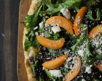 Pistachio Pesto Apricots & Feta Spring Green Pizza Salad