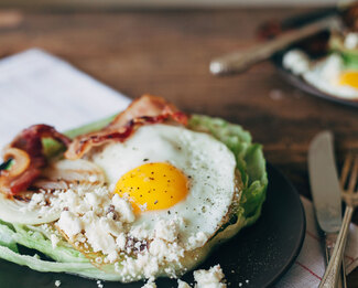 Feta Topped Fried Egg Salad