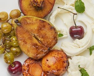 Galbani® Caramelized Stone Fruit and Ovoline Plate