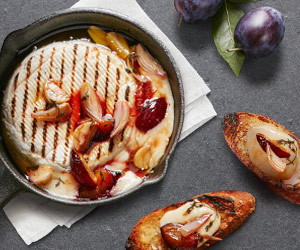 Grilled Président® Brie with Saba and Plums