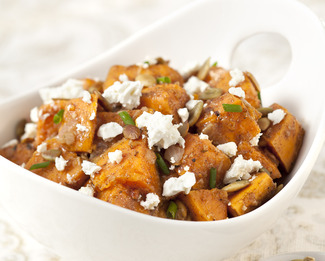 Roasted Sweet Potato Salad with Pumpkin Seeds & Feta