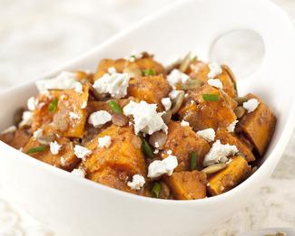 Roasted Sweet Potato Salad with Pumpkin Seeds & Feta