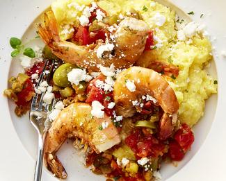 Shrimp Saganaki With Polenta & Président® Feta Crumbles